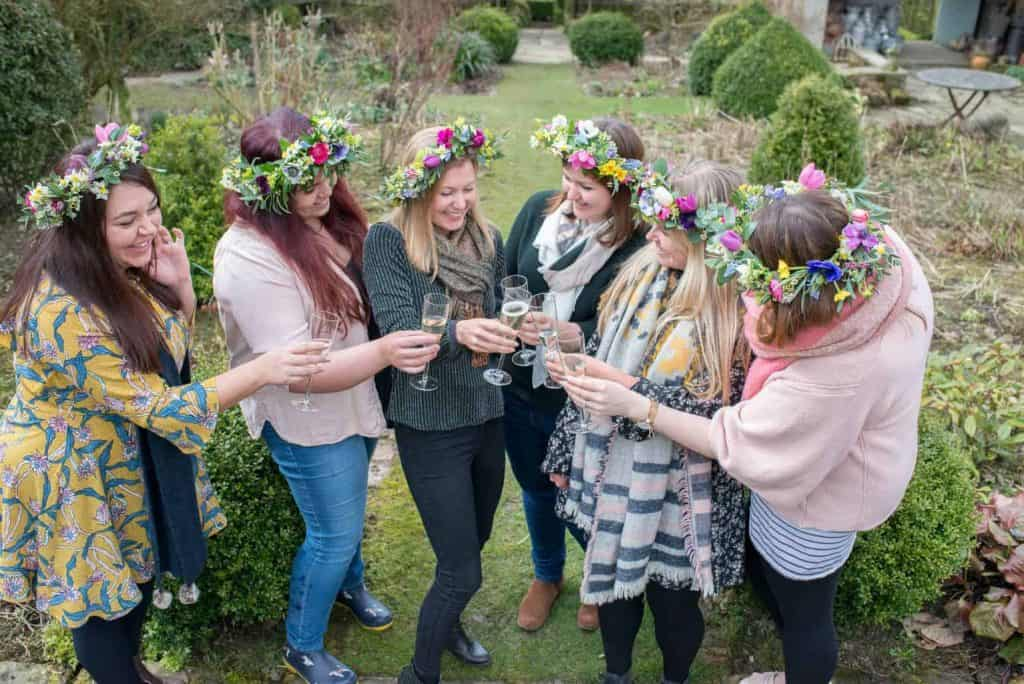 floral hen party drinking chamagne in yorkshire