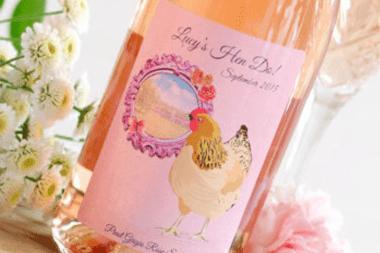 hen do label for wine